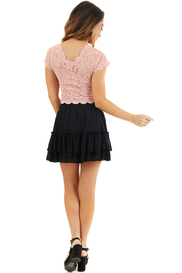 Baby Pink Lace Short Sleeve Woven Top with Scalloped Hemline back full body