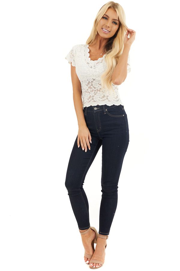 Off White Lace Short Sleeve Woven Top with Scalloped Hemline front full body