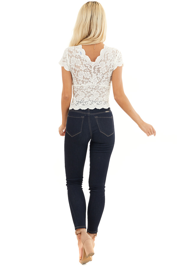 Off White Lace Short Sleeve Woven Top with Scalloped Hemline back full body