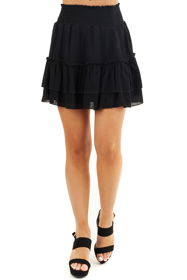 Black Smocked Waist Mini Skirt with Ruffle Details front view