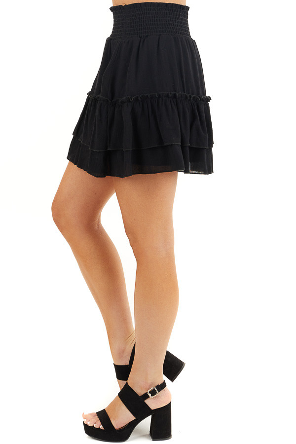 Black Smocked Waist Mini Skirt with Ruffle Details side view