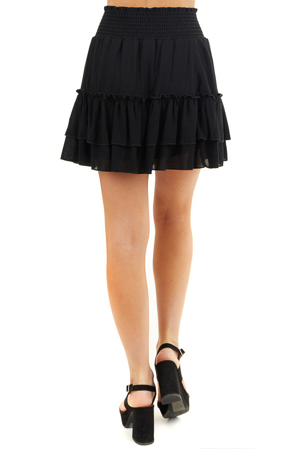 Black Smocked Waist Mini Skirt with Ruffle Details back view
