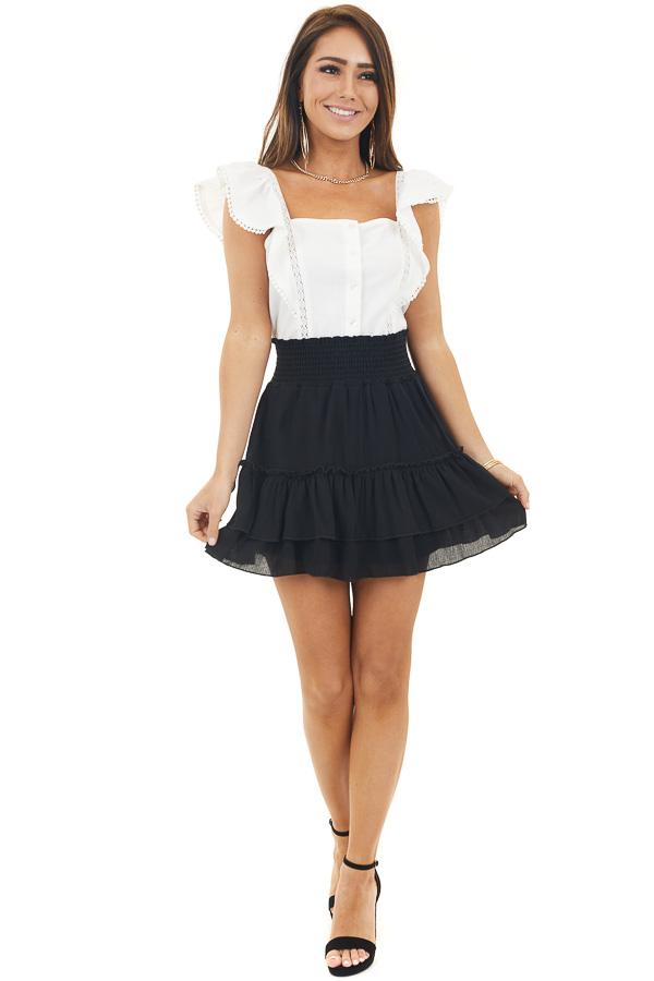 Black Smocked Waist Mini Skirt with Ruffle Details