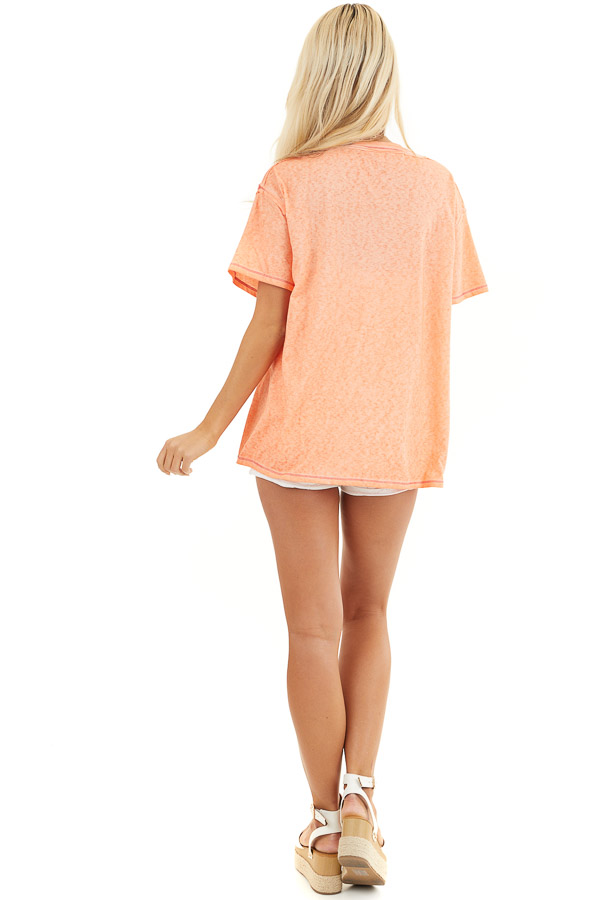 Tangerine Mineral Wash Top with Front Pocket and Side Slits back full body