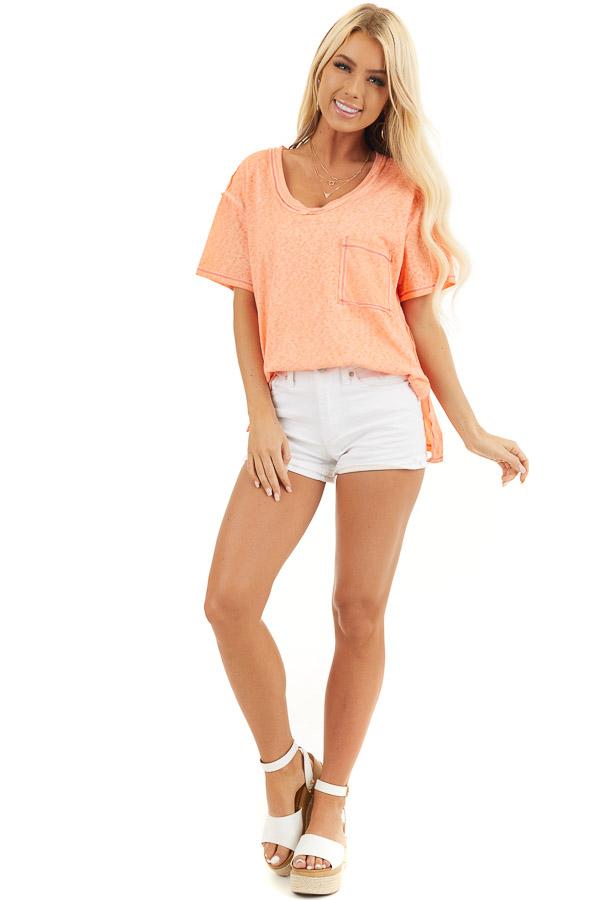 Tangerine Mineral Wash Top with Front Pocket and Side Slits front full body