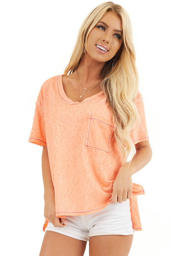 Tangerine Mineral Wash Top with Front Pocket and Side Slits front close up