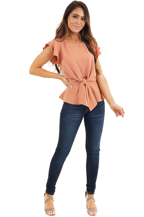 Faded Terracotta Peplum Blouse with Front Tie Detail front full body