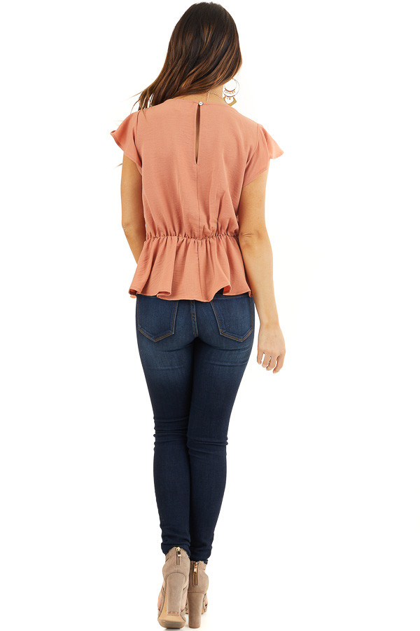 Faded Terracotta Peplum Blouse with Front Tie Detail back full body