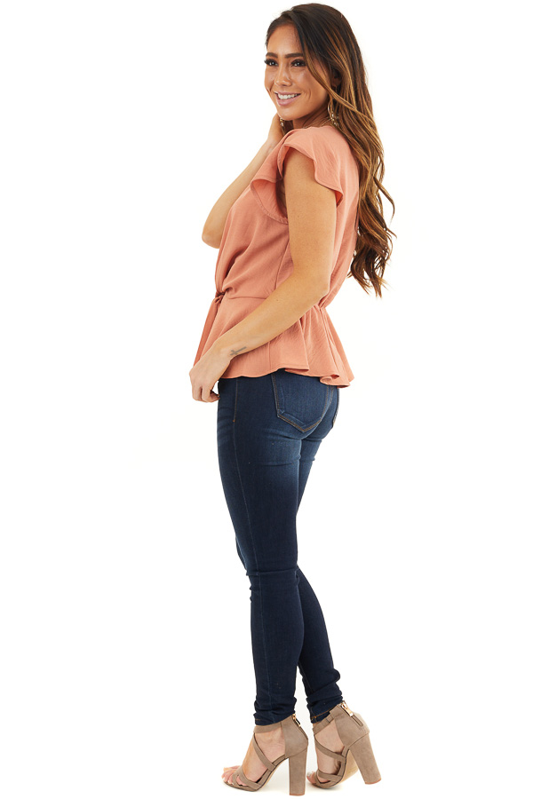 Faded Terracotta Peplum Blouse with Front Tie Detail side full body