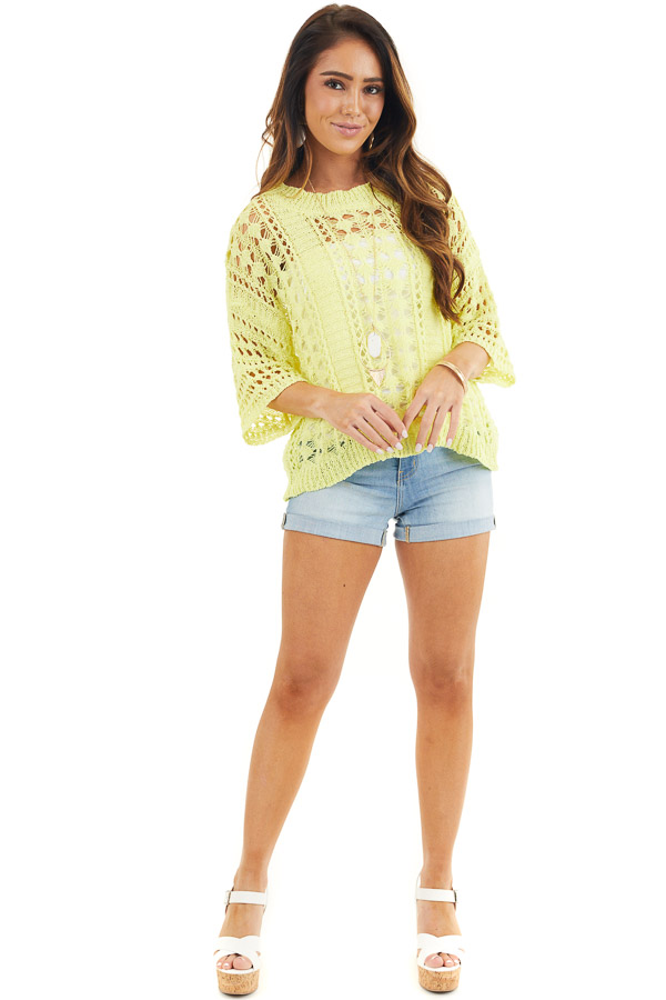 Sunshine Yellow Crochet Knit Sweater Top with 3/4 Sleeves front full body