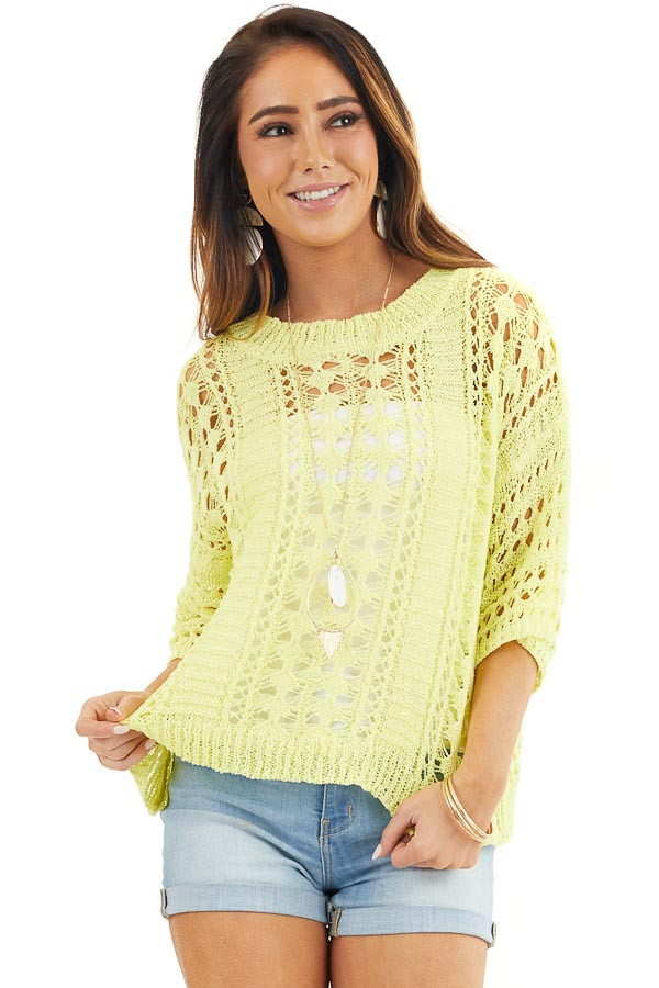 Sunshine Yellow Crochet Knit Sweater Top with 3/4 Sleeves front close up