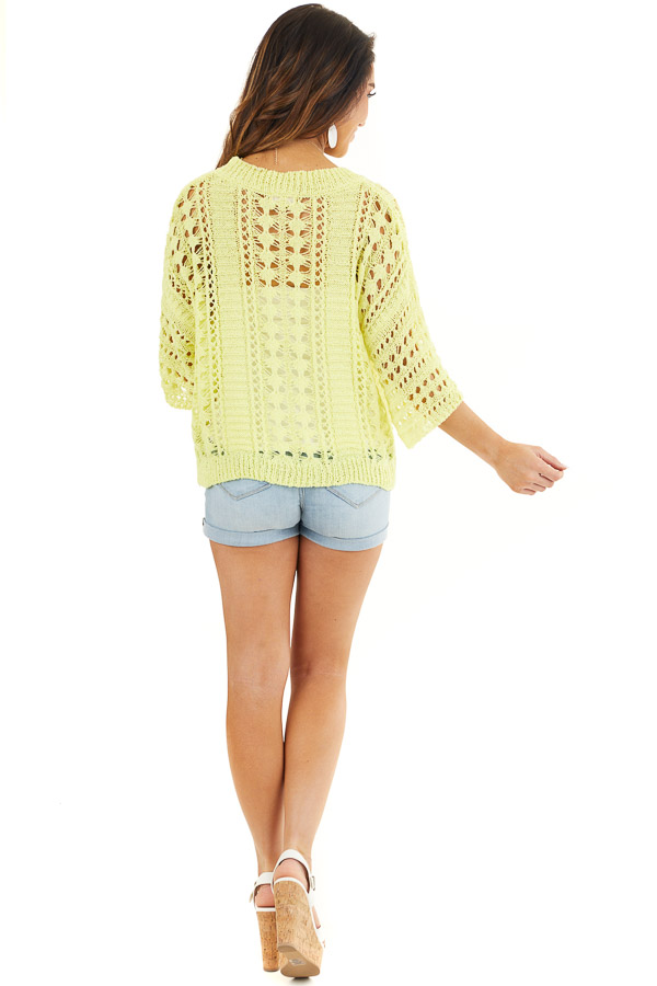 Sunshine Yellow Crochet Knit Sweater Top with 3/4 Sleeves back full body