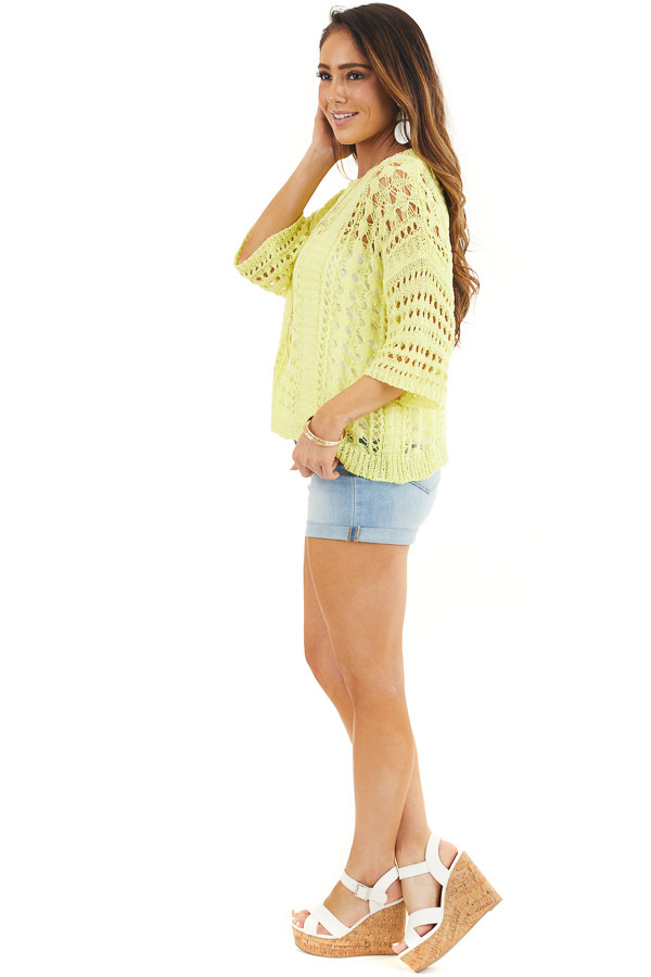 Sunshine Yellow Crochet Knit Sweater Top with 3/4 Sleeves side full body