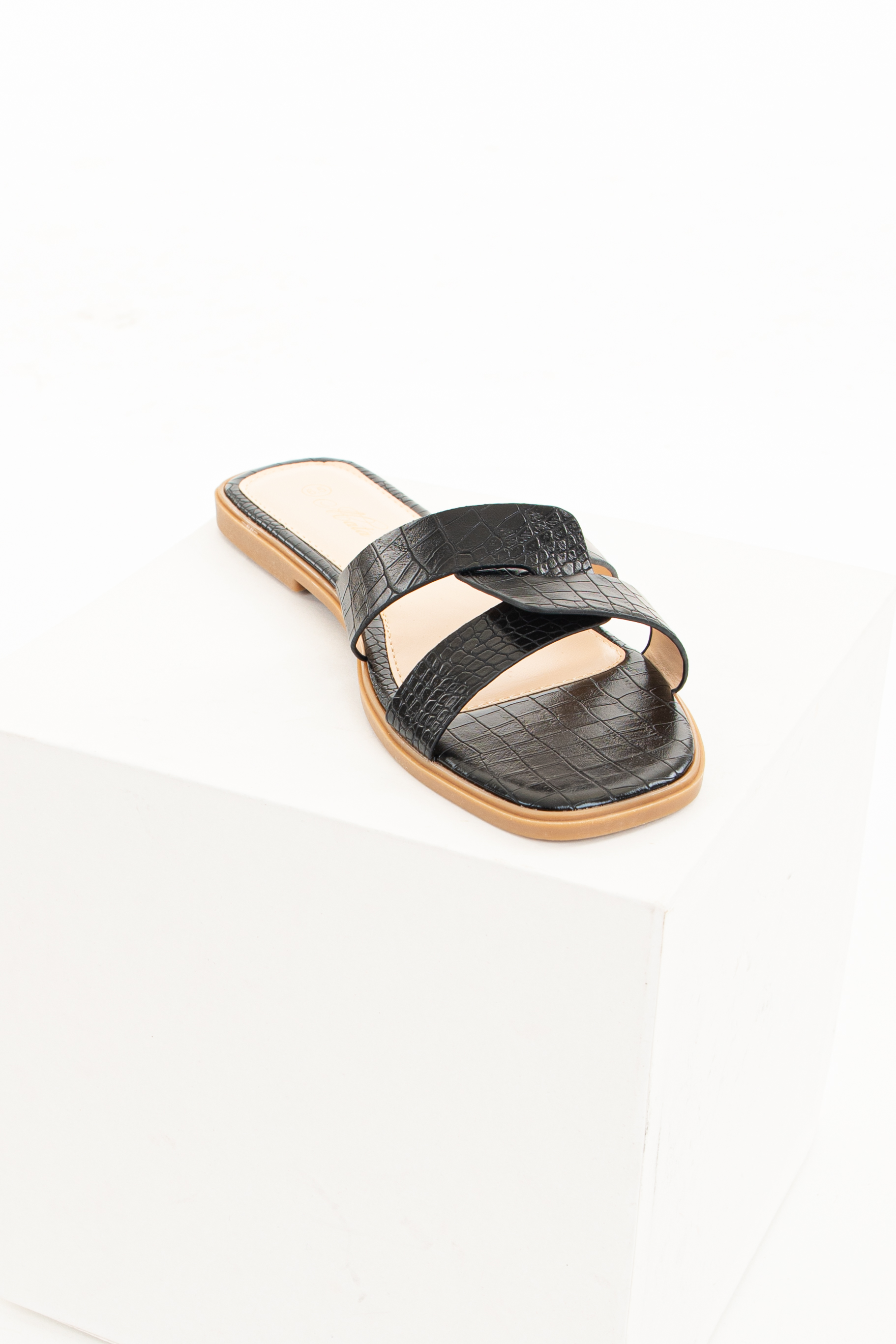 Black Slip On Sandals with Reptile Texture and Open Toe