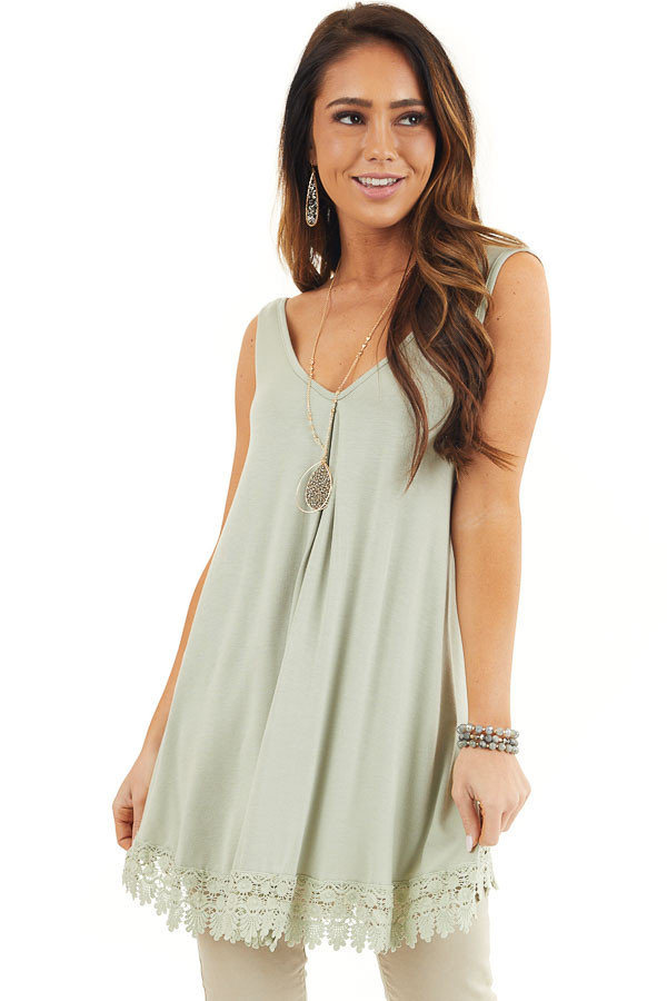 Light Sage Flowy Tunic Tank Top with Crochet Lace Trim front close up
