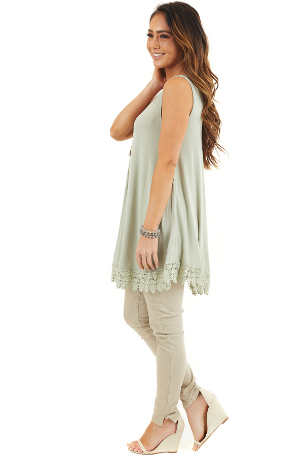 Light Sage Flowy Tunic Tank Top with Crochet Lace Trim side full body