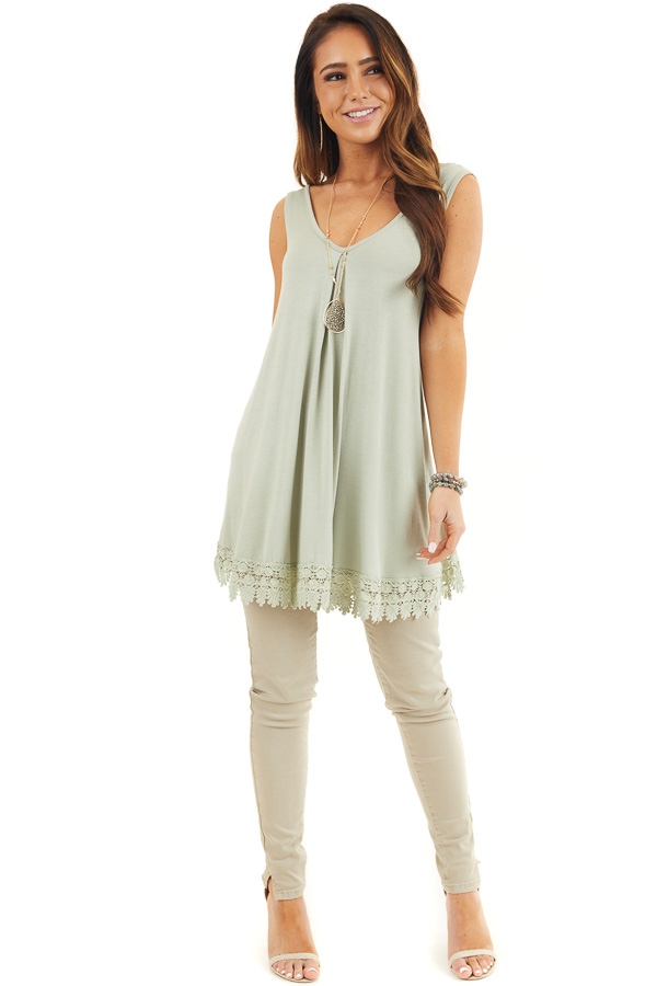 Light Sage Flowy Tunic Tank Top with Crochet Lace Trim front full body