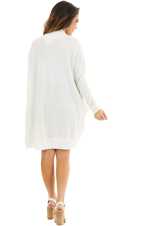 Off White Textured Knit Long Sleeve Cardigan with Pockets back full body