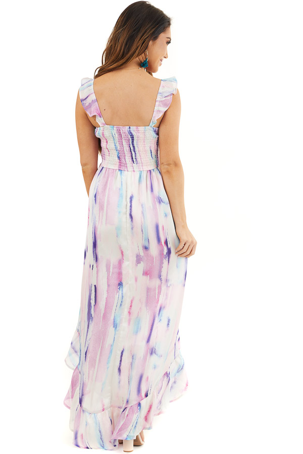Multicolor Tie Dye Smocked Bust Dress with Ruffle Details back full body