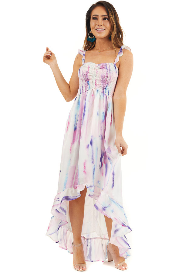 Multicolor Tie Dye Smocked Bust Dress with Ruffle Details front full body