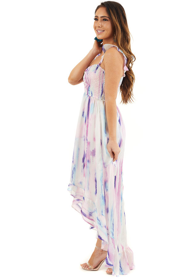 Multicolor Tie Dye Smocked Bust Dress with Ruffle Details side full body