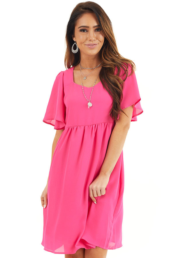Hot Pink Short Sleeve Woven Dress with Flared Short Sleeves front close up