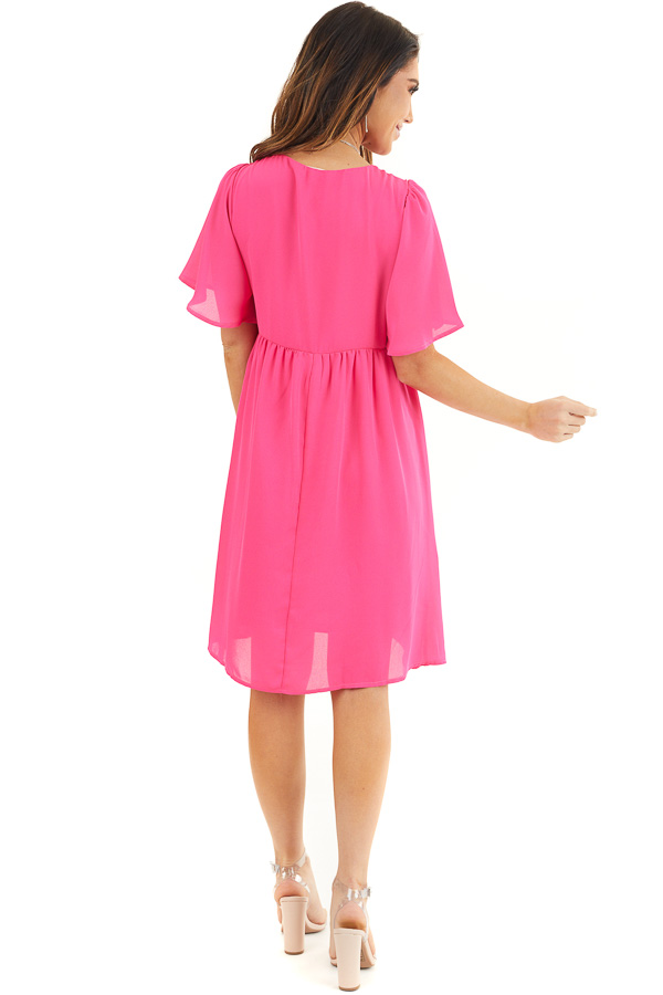 Hot Pink Short Sleeve Woven Dress with Flared Short Sleeves back full body