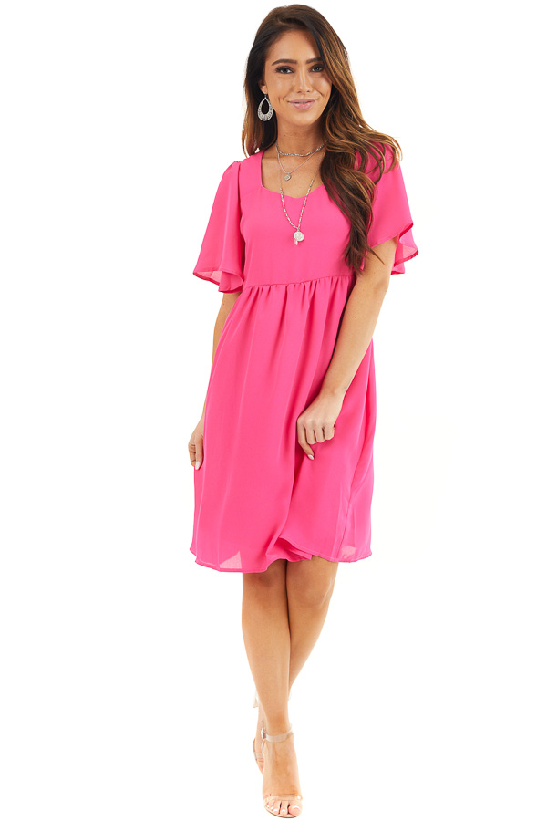Hot Pink Short Sleeve Woven Dress with Flared Short Sleeves front full body