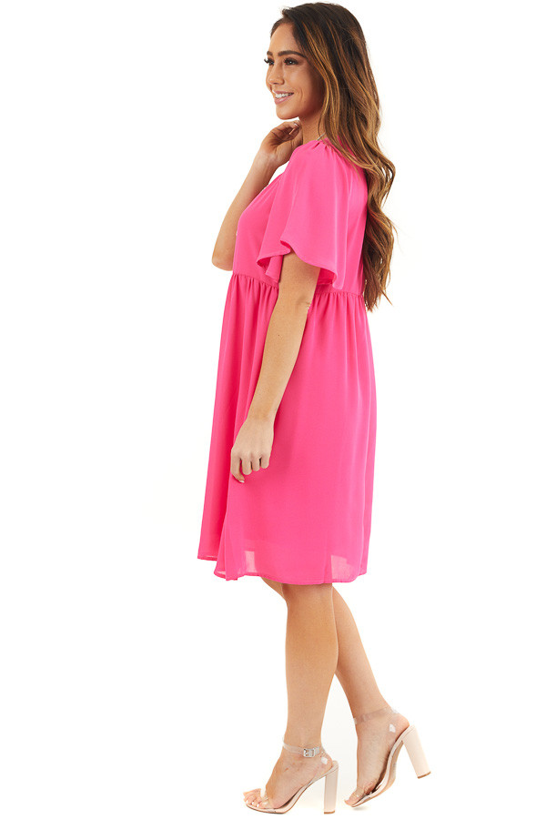 Hot Pink Short Sleeve Woven Dress with Flared Short Sleeves side full body