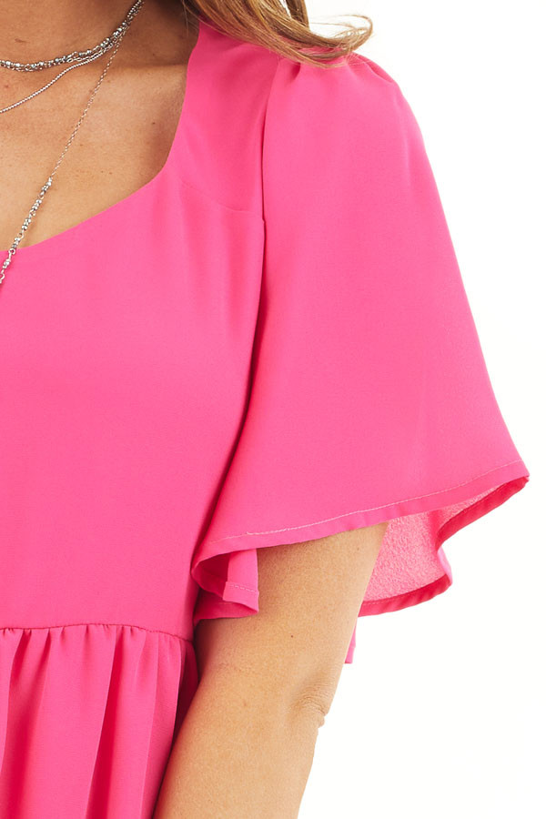 Hot Pink Short Sleeve Woven Dress with Flared Short Sleeves detail