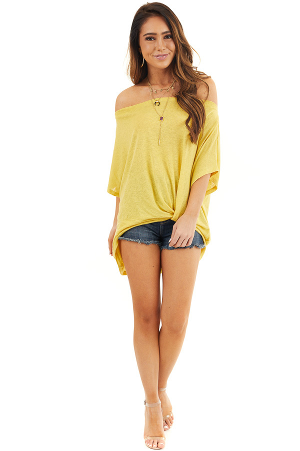 Marigold Off the Shoulder Knit Top with Front Twist Detail front full body