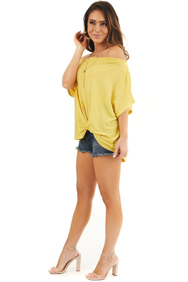Marigold Off the Shoulder Knit Top with Front Twist Detail side full body