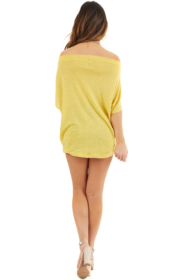 Marigold Off the Shoulder Knit Top with Front Twist Detail back full body