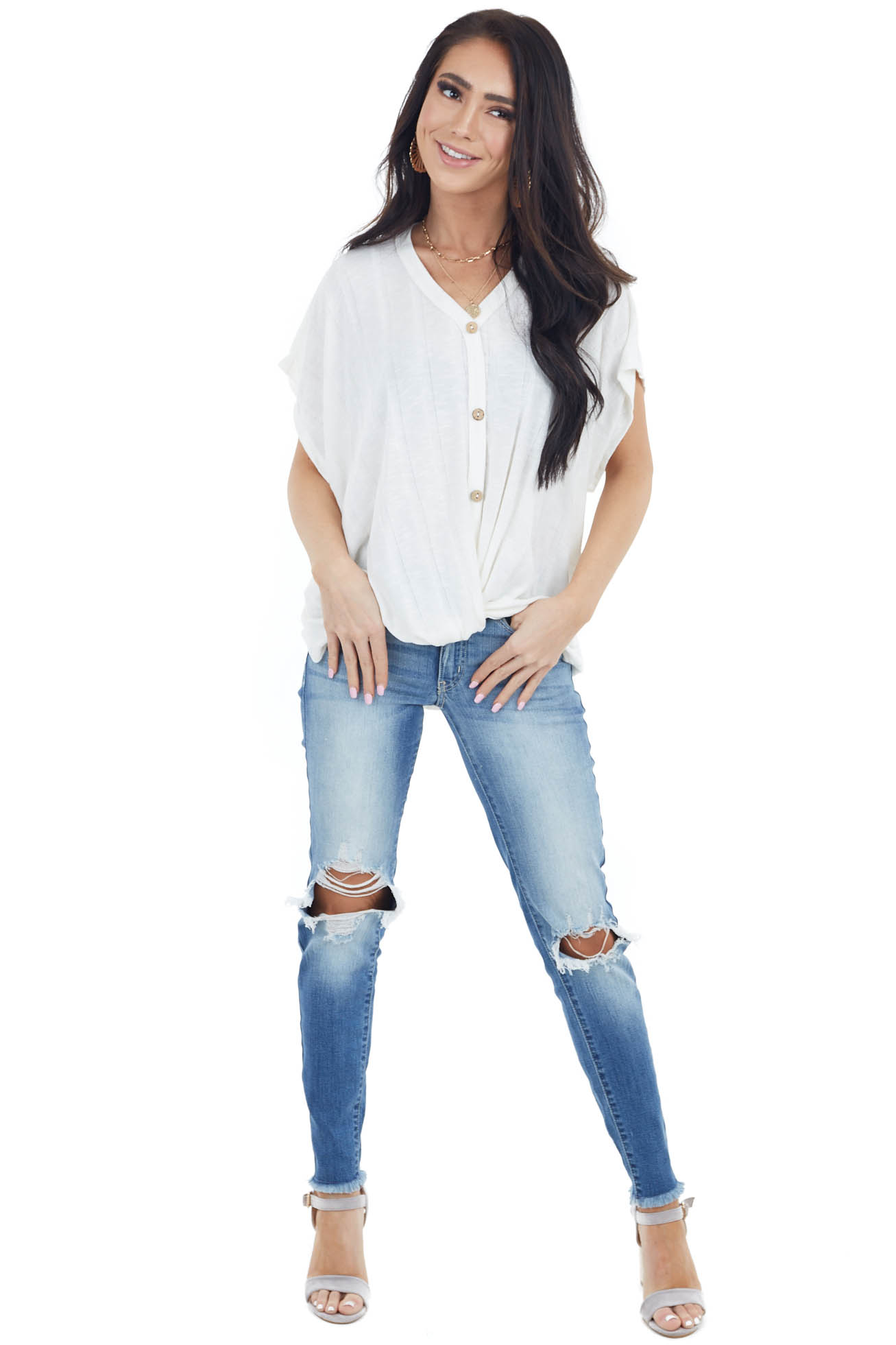 Off White V Neck Top with Front Twist and Button Up Details