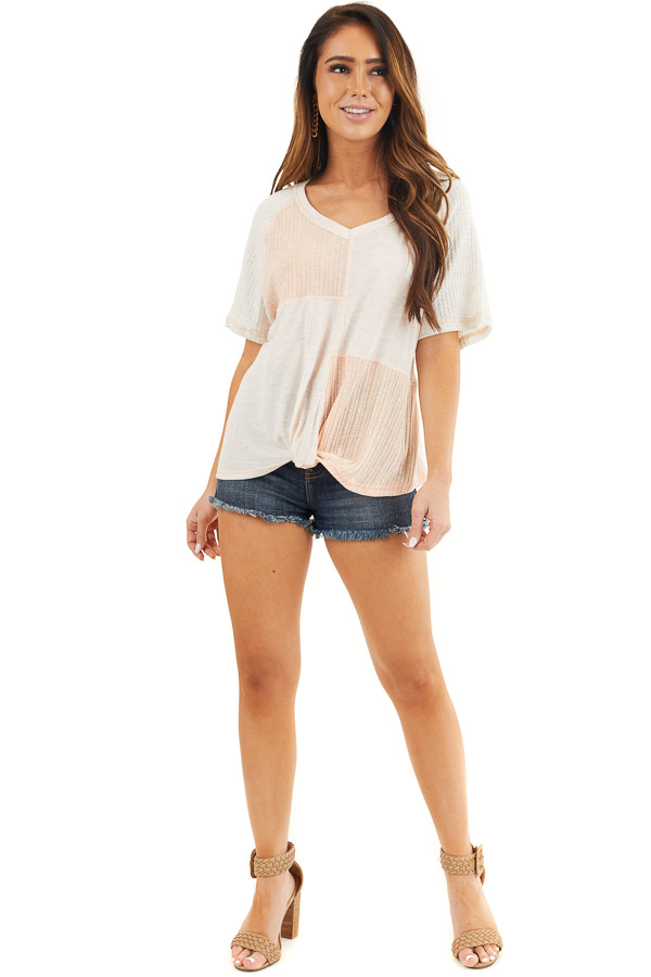 Pale Pink and Oatmeal V Neck Top with Front Twist Detail front full body