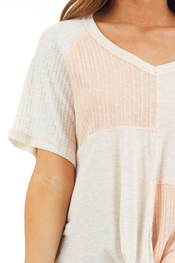 Pale Pink and Oatmeal V Neck Top with Front Twist Detail detail