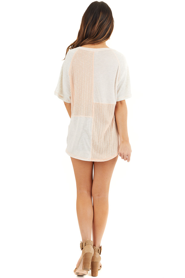 Pale Pink and Oatmeal V Neck Top with Front Twist Detail back full body