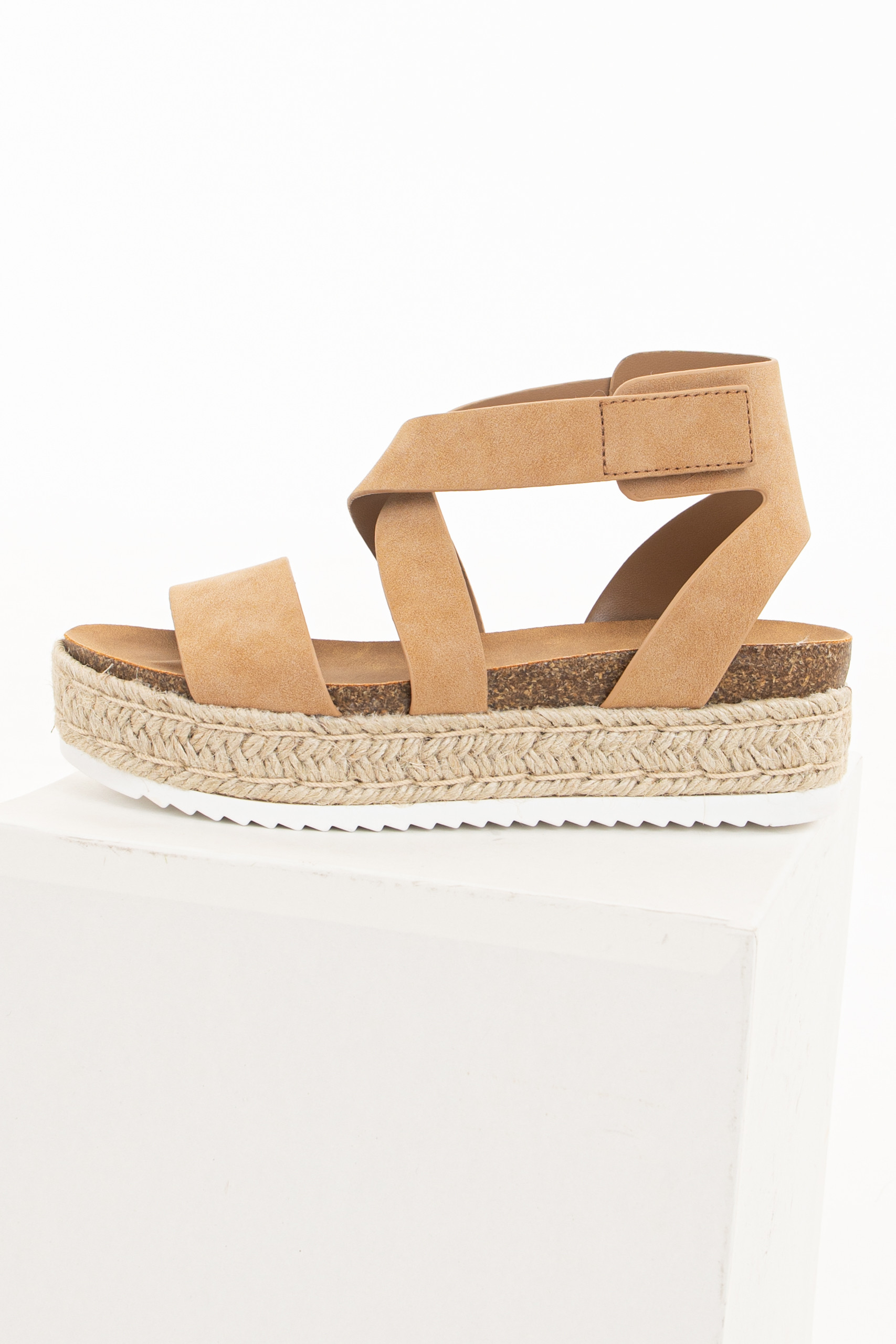 Camel Faux Leather Strappy Velcro Espadrille Sandals