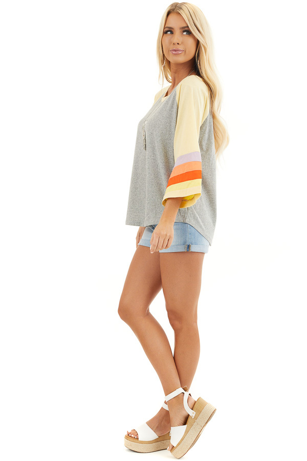 Heather Grey and Multicolored 3/4 Flared Sleeve Top side full body