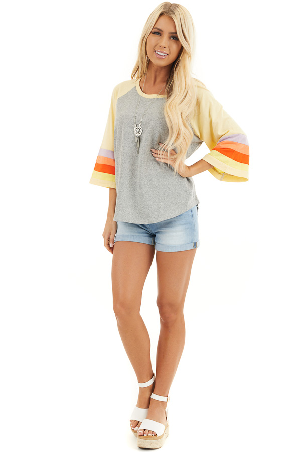 Heather Grey and Multicolored 3/4 Flared Sleeve Top front full body