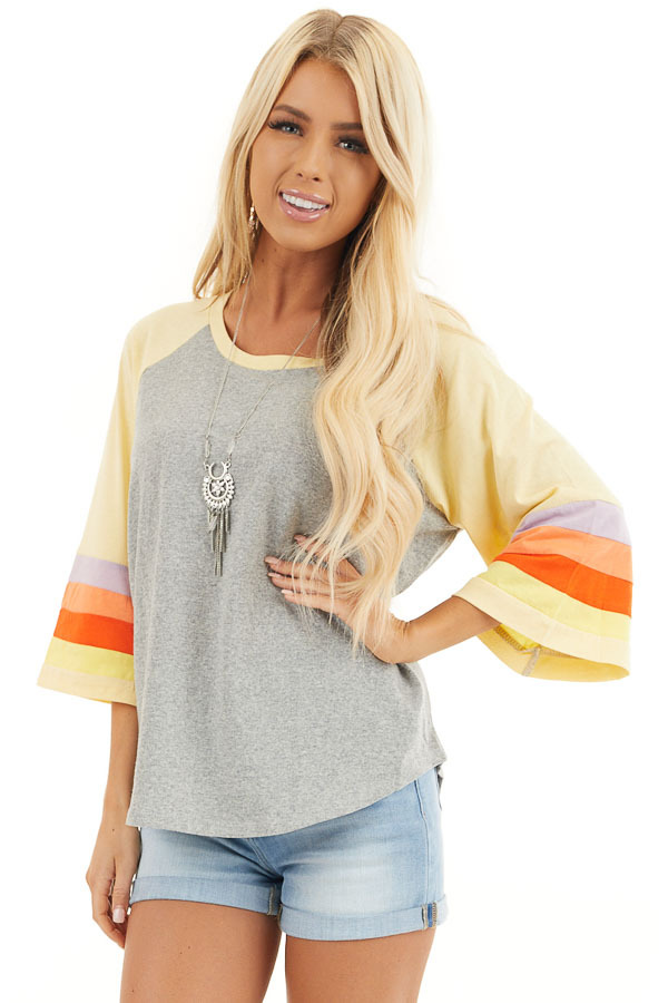 Heather Grey and Multicolored 3/4 Flared Sleeve Top front close up