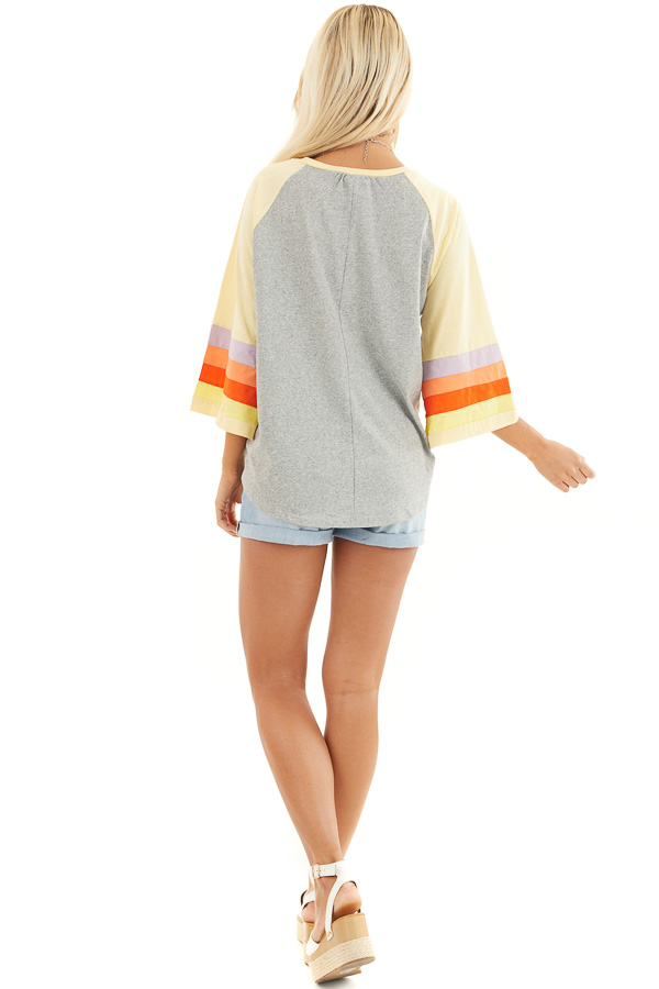 Heather Grey and Multicolored 3/4 Flared Sleeve Top back full body