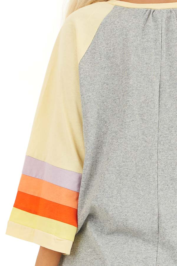Heather Grey and Multicolored 3/4 Flared Sleeve Top detail