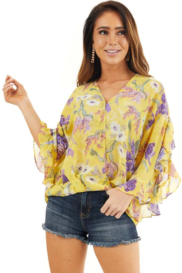 Marigold Floral Surplice Top with Slit Long Ruffled Sleeves front close up