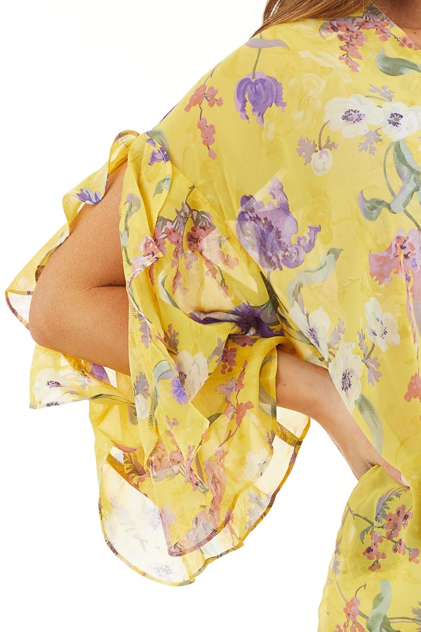 Marigold Floral Surplice Top with Slit Long Ruffled Sleeves detail