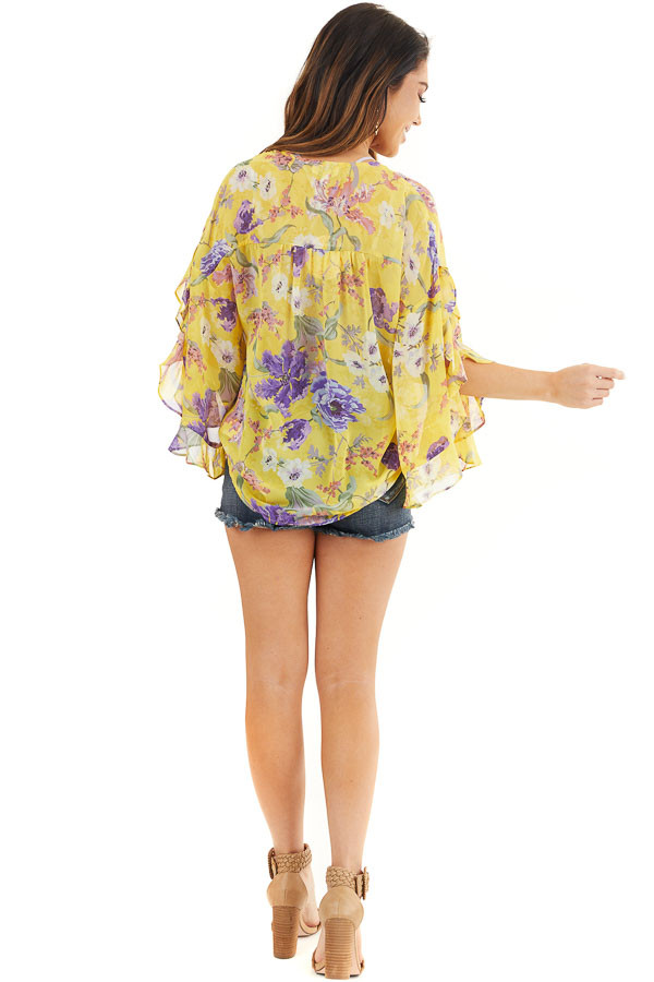 Marigold Floral Surplice Top with Slit Long Ruffled Sleeves back full body