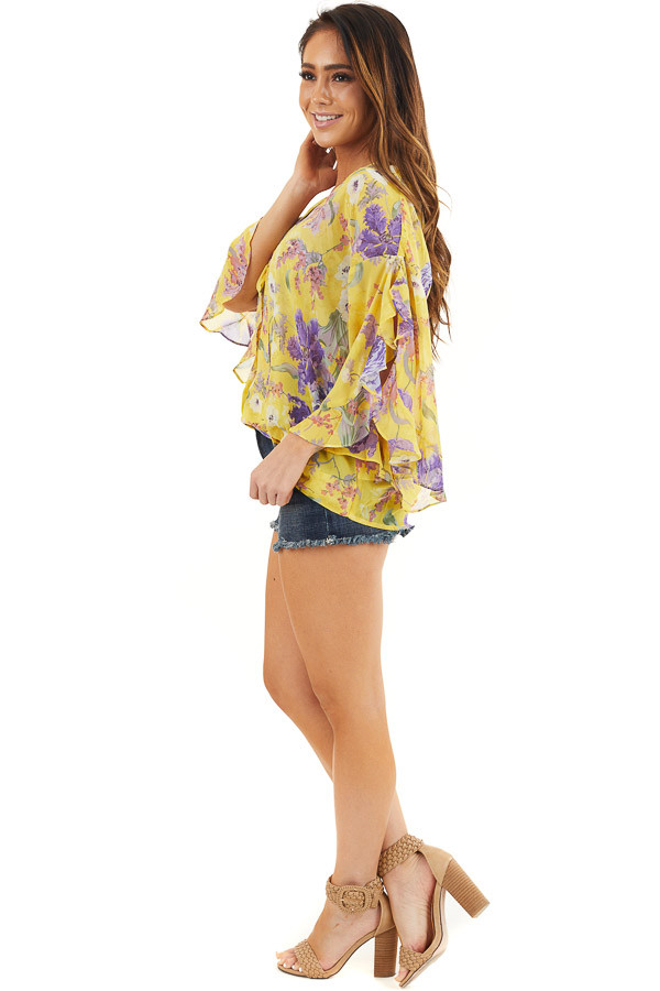 Marigold Floral Surplice Top with Slit Long Ruffled Sleeves side full body