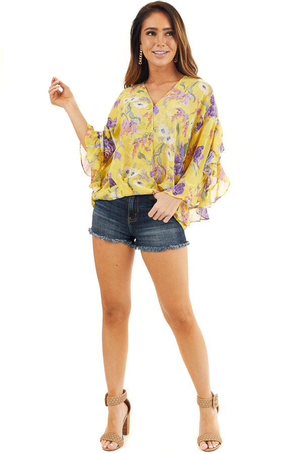Marigold Floral Surplice Top with Slit Long Ruffled Sleeves front full body