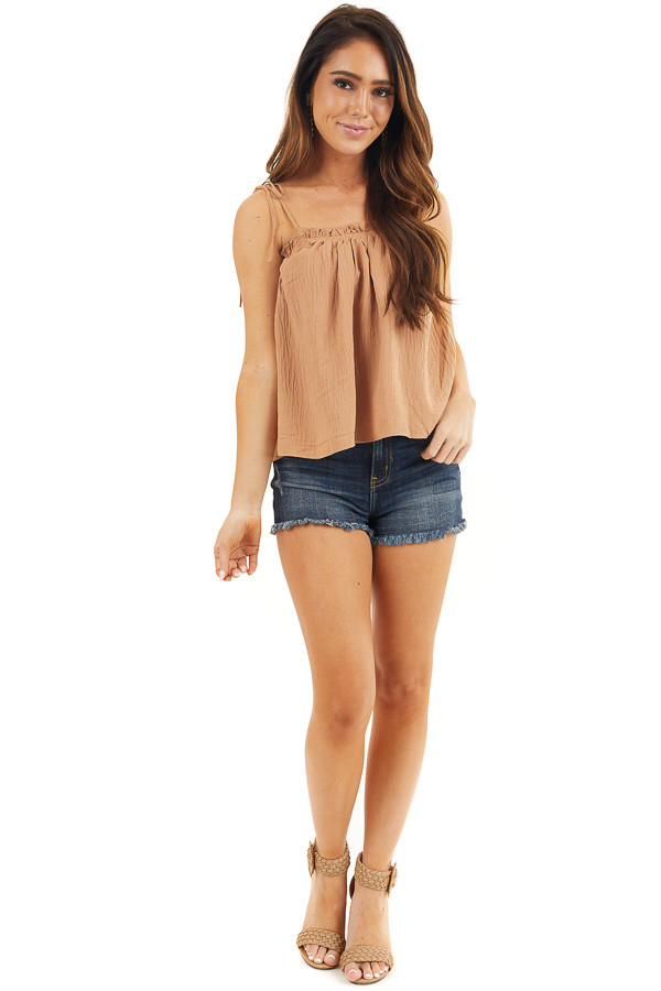 Camel Sleeveless Woven Babydoll Top with Self Tie Straps front full body