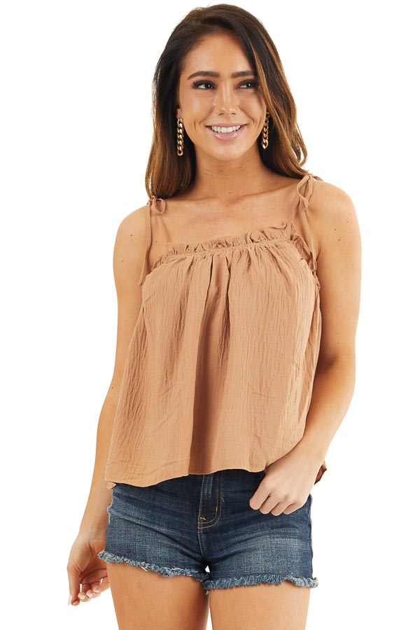 Camel Sleeveless Woven Babydoll Top with Self Tie Straps front close up